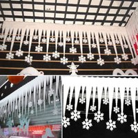 Wholesale Christmas White Snowflake Ice Strip Xmas Decoration Festival Party Wedding Ornament Supplies Pc cm HH D02