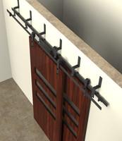 barn sliding door hardware kit - 5 ft ft bypass sliding barn wood closet door interior sliding door bent straight wheel hardware track kit