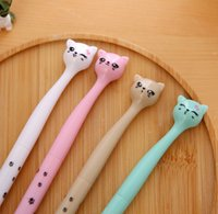 Wholesale 4Pcs Cute Kawaii Fun Black Gel Ink Roller Ball Point Pen Cat Color Random