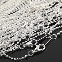 Wholesale 1 mm Plated Silver Ball necklace Chain with Lobster Clasp Hook Silver Gold choose