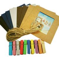 achat en gros de albums photos clip-Nouveautés Creative cadeau Décoration 10pcs / lot Hanging Wall Cadre papier photo bricolage mur Image Album + corde + clip en bois
