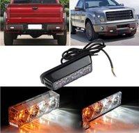 benz grille - 4LED V W Emergency Vehicle Deck Dash Grille Strobe Warning Light White Amber