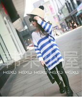 big jumpers - The new autumn Children s wear thick sweater of the girls in long loose big neckline naval stripe