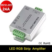 aluminum power amplifiers - 2016 New DC Power V V Input A Repeater Aluminum Case Controller RGB Amplifier for SMD LED Strip Light Box