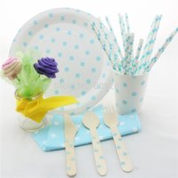 baby blue polka dot napkins - Polka Dot Party Tableware Set Light Blue Wooden Utensils Paper Straws Napkins Plates Cups Wedding Decor Baby Shower Supplies