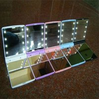 Wholesale Mini Portable Folding Pocket Mirror Compact Hand Cosmetic Make Up Pocket Mirror with LED Light for Women Girls Lady