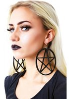 acrylic christmas hanging - Big Black Pentagram Hanging Earrings Christmas Gifts For Women Brincos Grandes Brinco Acrilico Party Pentacle Fashion Jewelry
