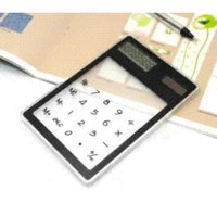 Wholesale 1 PC Transparent Electronic Calculator Multi color Digit LCD Solar Calculator Touch Screen Counter Calculating Tool as Gift