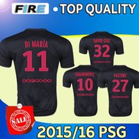 Wholesale PSG black Soccer jerseys Uniforms Camisa IBRAHIMOVIC DI MARIA T SILVA CAVANI DAVID LUIZ Maillot De Foot psg black Football Shirts