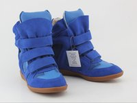 Wholesale original quality women Isabel blue color High top casual shoes within the higher slope with stealth Height Increasing Shoes