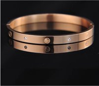 Wholesale 2016 Fashion New Classic Rose Gold High grade Titanium Bangle Bracelet Jewelry Buckle Hot Explosion Models With Rhinestone For Women Men
