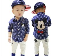 Wholesale 2016 New Baby Boys Shirts Cartoon Mickey Mouse Polka Dots Shirt Children Long Sleeve Spring Autumn Fashion Shirts Kids Boy Clothes