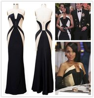 apple washington - Kerry Washington Scandal Celebrity Evening Dresses Olivia Pope Black and Ivory Formal Red Carpet Prom Gowns Women Wear