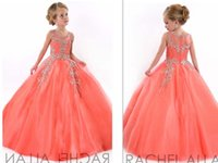 little girls dresses - In Stock Coral Little Girls Pageant Dresses Princess Tulle Sheer Jewel Crystal Beading Kids Flower Girls Dress Birthday Gowns