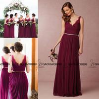 beach wines - Wine Red Burgundy Lace Tulle Long Boho Beach Bridesmaid Dresses in BHLDN V neck Full length Jenny Yoo Cheap Maid Of Honor Dress