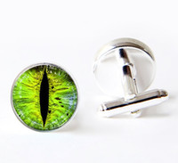Wholesale Green Eyes Cufflinks evil eye dragon eye cufflinks custom mens cufflinks gift for him