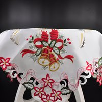 Wholesale 85 cm Christmas Polyester Satin Jacquard Embroidery Floral white Tablecloths Cutwork by Hand Embroidered Table Cloth Model Number TSS817