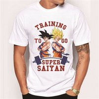 Wholesale Super Hipster Men - Wholesale-2016 Men's Clothes Fashion Japan Anime Dragon Ball Z T Shirt Super Saiyan Printed shirt Son Goku Tee Hipster Hot Tops