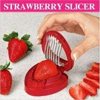 berry fruit salad - 1 Red Color Strawberry Slicer Plastic Fruit Carving Tools Salad Cutter Berry Stem Leaves Huller Remover