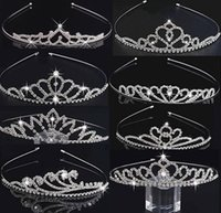 Wholesale 8 New Styles Kids Girls Glitter Crystal Rhinestone Twinkle Princess Crown Tiara Headband Hair band FLower Girl Wedding Birthday Prom