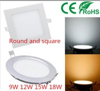 Wholesale Led Panel Lights Dimmable W W W W CREE Led Recessed Downlights Lamp Warm Natural Cool White Super Thin Round Square V