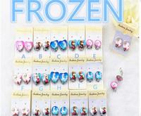 Wholesale new new Frozen Elsa Anna pricess cartoon girl favorite heart round sharp glass earrings clip on for wedding birthday parde decor