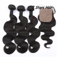 Wholesale Silk Base Closures with Bundls Brazilian Malaysian Indian Peruvian Human Hair Extensions inch Unprocessed Hair Weave