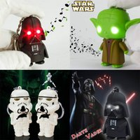 Wholesale New LED Luminous Key Ring Chain Key Star Wars Keychain Accessories Darth Vader Yoda Key Chain White Soldiers With Light and Voice