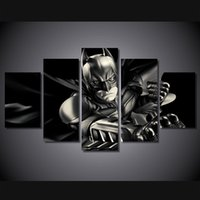 batman comic pictures - 5 Piece No Framed HD Printed batman dark knight comics Group Painting Canvas Print room decor print poster picture canvas