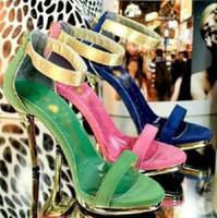 b w fashion - w Korean star faves party stage show shoes woman sweet high heeled sandals golden heel ladies summer heels zapatos mujer