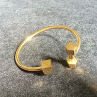 Wholesale China Charms Suppliers - Wholesale Trendy Jewelry Gold Plated Stainless Steel Dumbbell Bangle From China Supplier