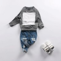 Wholesale 2016 Autumn Ins Infant Baby Boys Tops Sweatshirt Kids Letters Printed Long Sleeve Cotton Tops Tee Children Sweatshirts