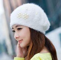 Wholesale Women Winter Pearl Cap Korean Style Hot Cony Hair Beret Knit Cap Warm Cap Multicolor Fashion