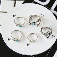 arrow shapes - 5pcs set Geometric Turquoise Rings for Women girls vintage multi shapes Moon Arrows rings silver plated alloy Rings new fashion for gifts