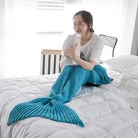 Wholesale Kids Mermaid Blankets Handmade Mermaid Tail Blankets Mermaid Tail Sleeping Bag Knit Sofa Nap Blankets Costume Cocoon CM