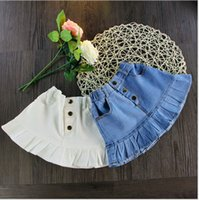 Wholesale Girls summer clothes Girls button denim skirt children explosion models dress Girls personality skirt