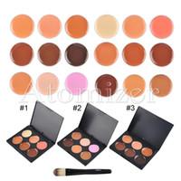Wholesale 6 Colours Facial Concealer Cream Foundation Makeup Camouflage Concealer Palette with Makeup Brush concealer palette brush