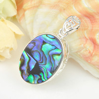 abalone shell pendants - 6pcs Classic Round Natural Abalone Shell Gemstone Sterling Silver Pendant Daily Jewelry