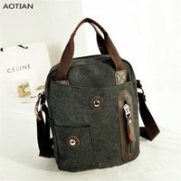 Wholesale Small Shoulder Satchel Men - AOTIAN Men's Canvas Handbag Casual Style Five Colours Young Men's Crossbody Bags Vertical Version of Travel Bag Hot Sell 5125