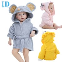 animal beach towels - 2016 IDgirl Brand Designs Hooded Animal Modeling Baby Bathrobe Cartoon Baby Towel Character Kids Bath Robes Infant Beach Towels BY DHL
