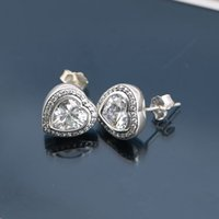 Wholesale Hot Sale Charm Earrings Crystal Heart Authentic Sterling Silver Fashion Women Jewelry European Style For Pandora