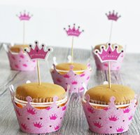 baking with tea - black mustache crown Cupcake cake Wrapper with topper cards Liner Baking Cup paper for wedding birthday tea party decoration