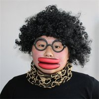 big sausage - Halloween Cosplay Costumes Tricky Exaggerated Big Mouth Swollen Thick Red Lips Mouth Sausage Lips Cosplay Comedy Party Ball