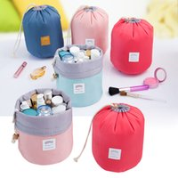 Wholesale Barrel Shaped Travel Cosmetic Bag Nylon High Capacity Drawstring Elegant Drum Wash Bags Makeup Organizer Storage Bag DHL free I201652704