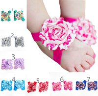 baby feet photos - New Western Style Toddler Shoes Newborn Baby Barefoot Sandals Chiffon Floral Set Feet Accessories Photo Prop Pair Mix Color