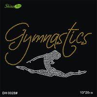 Wholesale Gymnastic Dancer Iron On Hotfix Crystal T Shirt Motif Patch Gem DIY DH0028