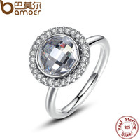 Wholesale BAMOER New Spring Collection Sterling Silver Primrose Brilliant Legacy Ring White CZ Clean Stone Ring Jewelry PA7149