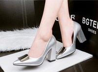 Wholesale 6029 fashion rough with shallow mouth pointed OL career minimalist high heeled patent leather square buckle shoes sweet female yangxin