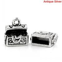 antique treasure chests - Retail Charm Pendants Treasure Chest Antique Silver x10mm
