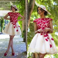 beauty cocktail - 2016 Red Lace Short Homecoming dresses Fashion A line Organza Cap sleeve Beauty Custom Mini Cocktail Party Dress Girls Plus Size Prom gown